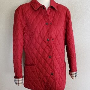 Burberry London quilted burgundy button jacket